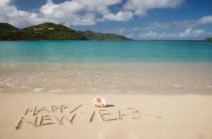 happy new year on beach